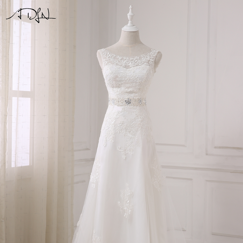 Elegant Long A Line Boat Neck Low Back Beading Appliques Wedding Dress