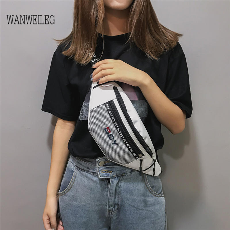 Women Bag Waist-Bag Messenger Canvas-Shoulder Fashion Pochete Zipper Feminina Neutral