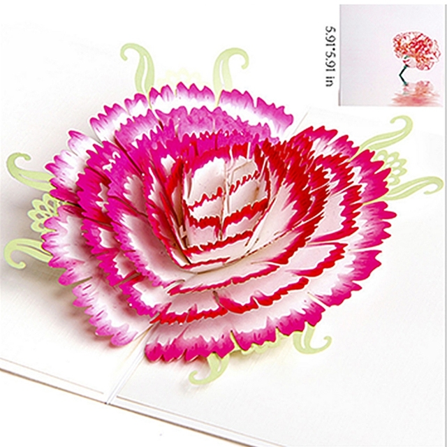 3d Greeting Card Pop Up Paper Cut Postcard Birthday Mothers Day