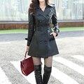 Женский длинный тонкий кожаный плащ размера L-5XL. (искусственная синтетика) Бесплатная доставка, топ моды в 2015!