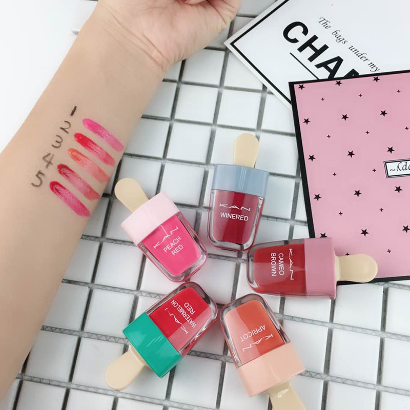 K A N Brand Cute Ice Cream Lip Tint Makeup Style Red Liquid Matt Lips gloss Pigment Nude Lasting Moisturizer Lipgloss By Factory in Lip Gloss from Beauty Health
