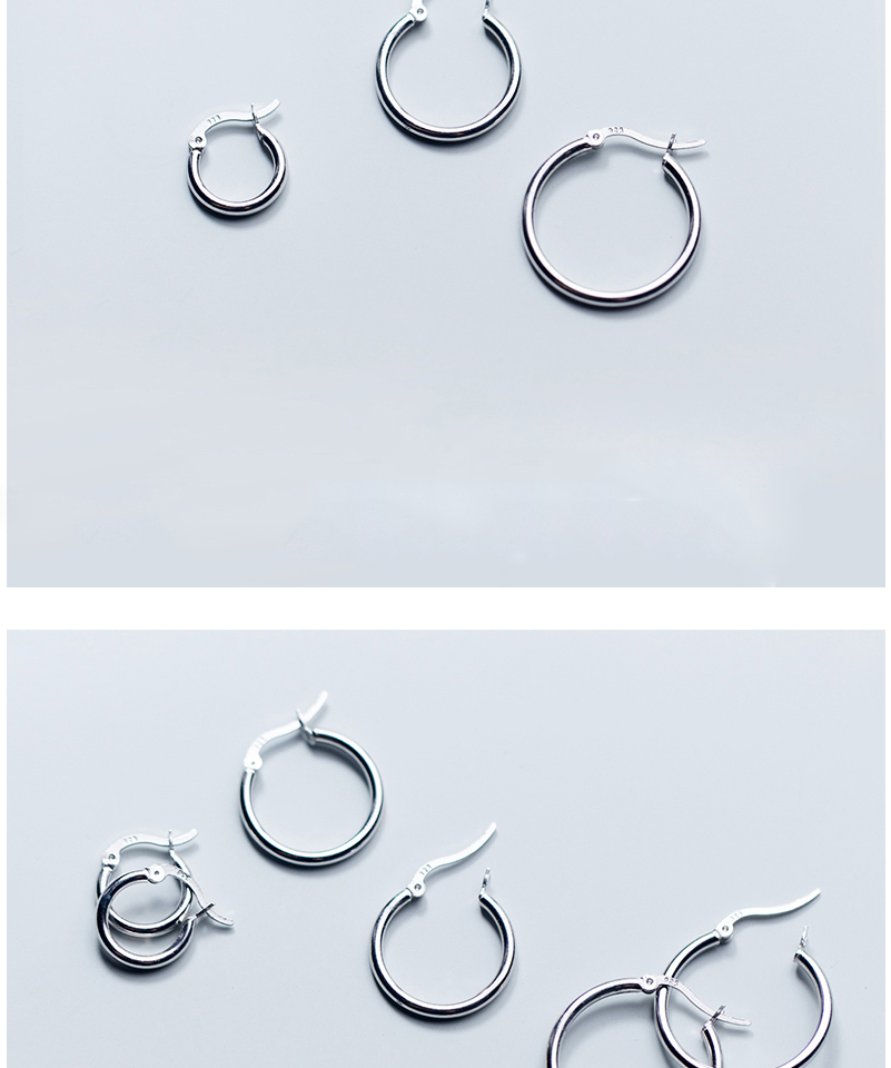 Round Hoop Earrings For Women Classic 925 Sterling Silver Ear Piercing Clip On Earring For Female Fashion Pendientes Aro Plata (8)
