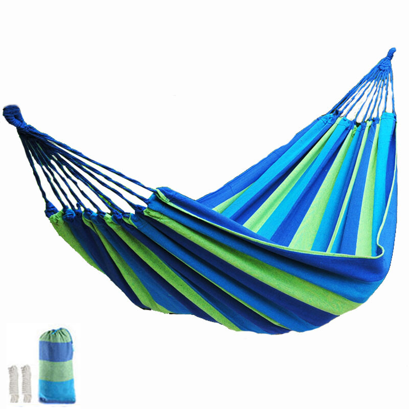 Two Color Hammocks 1-2 People Hamac Outdoor Leisure Hanging Bed Double Sleeping Swing Hammock Camping Hunting Travel 2016 profession canvas hammock outdoor double hammocks camping hunting leisure travel by walking portable bed 0016