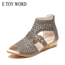 Купить с кэшбэком E TOY WORD Summer womens sandals fish mouth shoes womens hollow sandals zipper wedge with rhinestones women shoes