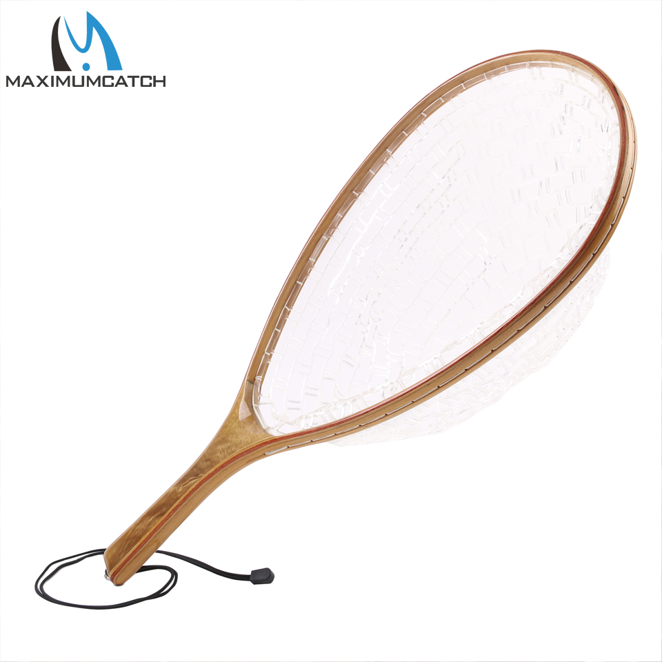 Maximumcatch Burled Wood Handle Fly Fishing Landing Net Clear Rubber Catch & Release Straight Handle For Fishing