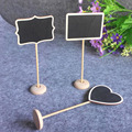 Fashion Elegance Cute 3 Shapes Wooden Novelty Blackboard Chalkboard Table Decoration Message Number Tag for Party Weeding