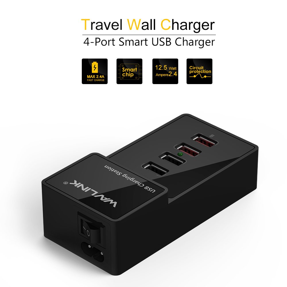 Wavlink USB 4-Port 38W Charging Station Wall/Desktop/Travel Fast Charger Power Adatper for Samsung Smartphone iPhone iPad Tablet