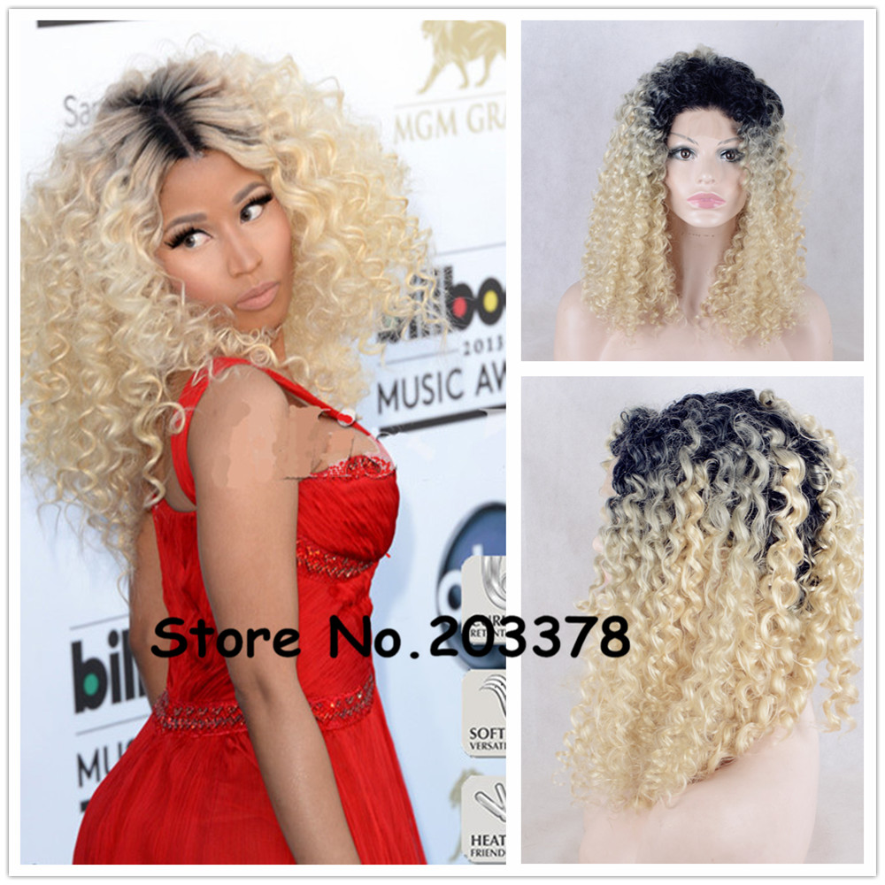 ФОТО Strong Beauty 14 inch Nicki Minaj Two Tone Ombre Black to Platinum Blonde Curly Afro Synthetic Hairstyles Wigs For Black Woman
