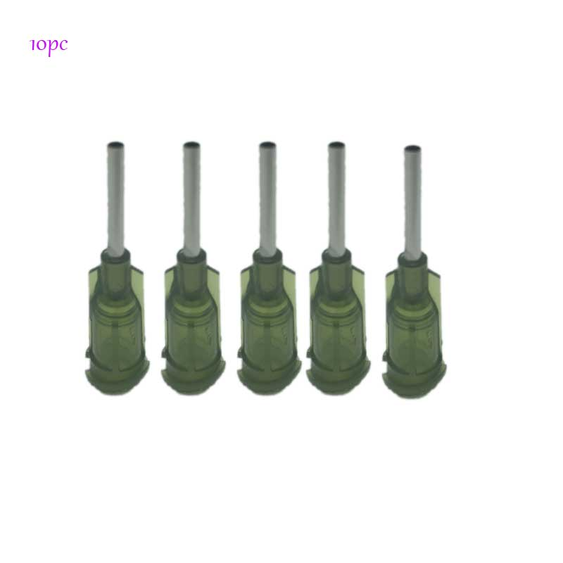 10pc Blunt Point Needle Syringe Tip For Solder Paste UV Glue Other Liquid Green