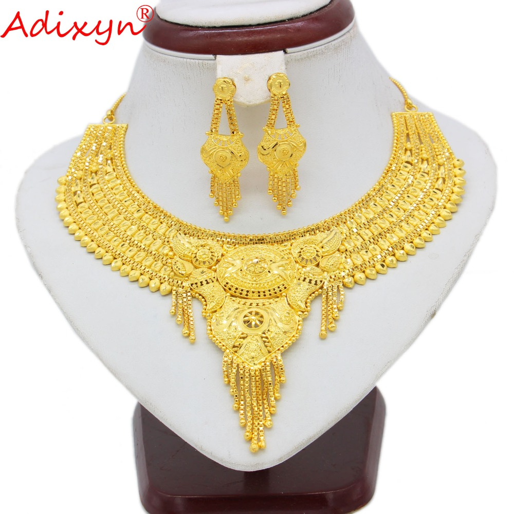 Adixyn 2018 Dubai Necklace&Earrings Jewelry Set for Women Gold Color Jewelry Ethiopian/Arab/India Wedding/Party Accessory N10078Adixyn 2018 Dubai Necklace&Earrings Jewelry Set for Women Gold Color Jewelry Ethiopian/Arab/India Wedding/Party Accessory N10078