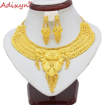 Adixyn 2018 Dubai Necklace&Earrings Jewelry Set for Women Gold Color Jewelry Ethiopian/Arab/India Wedding/Party Accessory N10078