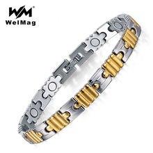 Женский браслет из нержавеющей стали welmag золотой с магнитным