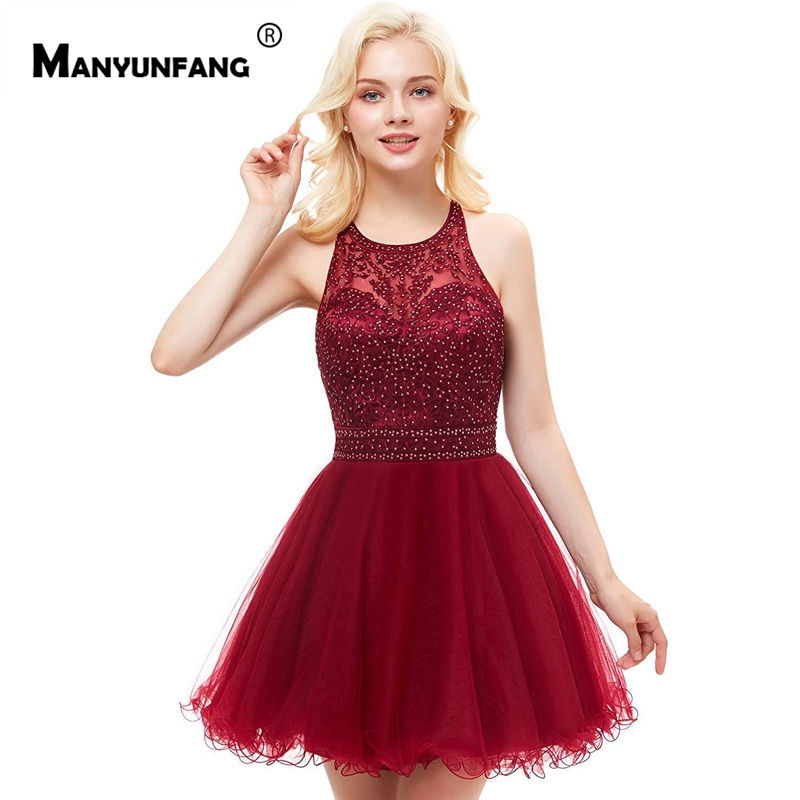 Fast Shipping Vestidos Coctel Burgundy Mini Vestido   Cocktail   Spaghetti Straps Robe Coktail High Quality   Cocktail     Dresses