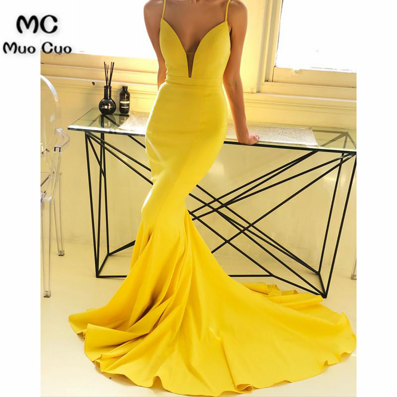2018 Plunge Mermaid   Evening     Dresses   Long Spaghetti Straps Deep V-Neck Elastic Satin Vestido Longo Formal   Evening   Party   Dress