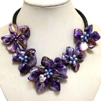 16-17 inches Natural Leather Cord Five Purple Shell Flower Women Handmade Pearl Necklace