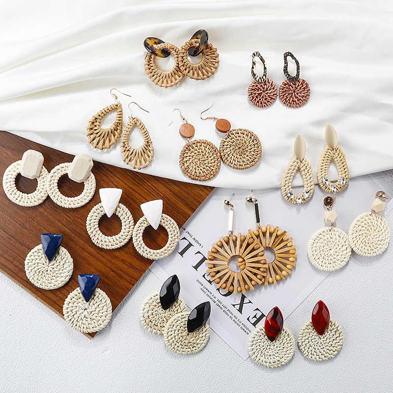 AENSOA หลาย 2019 เกาหลี Handmade ไม้ไผ่ Braid จี้ Drop ต่างหูแฟชั่นหวายถักยาวต่างหูผู้หญิง