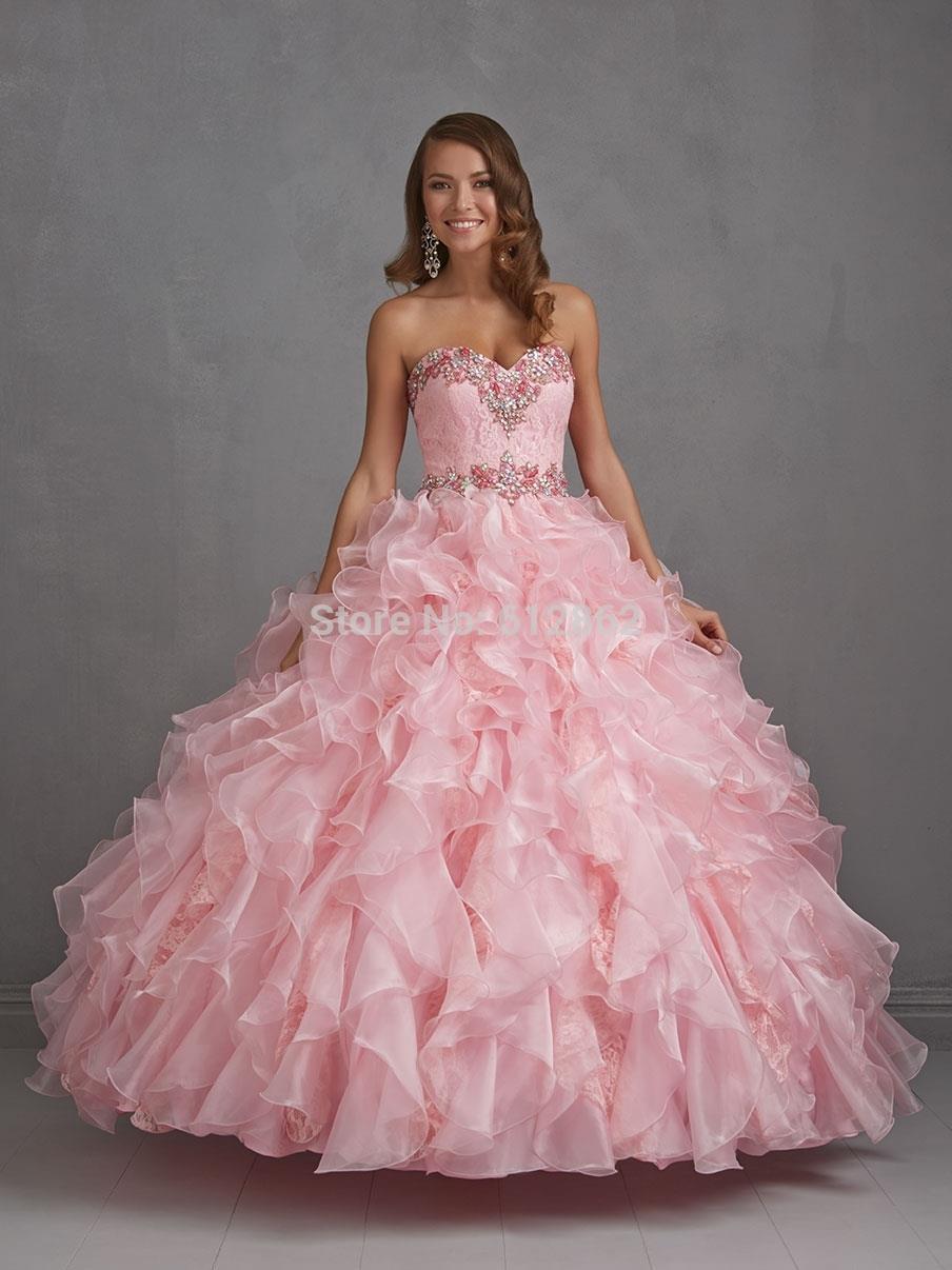 Novia sin tirantes de Organza vestido de bola largo Light Pink Prom ...