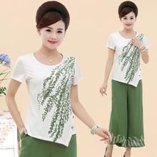 2 шт./компл., Нью среднего возраста женщины мать одежда летом свободно с коротким рукавом футболки + брюки набор женский Хлопок Смесей twinset XY5029