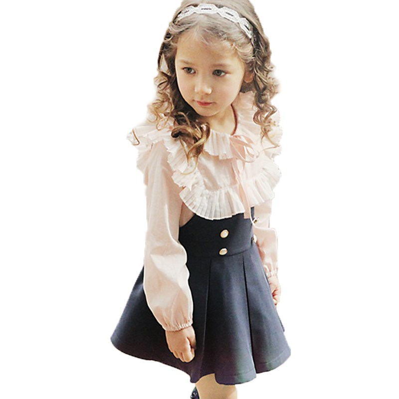 2016 Child Clothing <font><b>Girls</b></font> <font><b>Dress</b></font> + Lace <font><b>T</b></font> <font><b>Shirt</b></font> 2 Pieces Set Princess Baby Kids Autumn New Arrival Korean Blouse + <font><b>Dress</b></font> Sets image