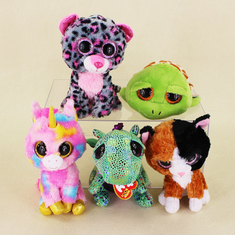 15cm Ty Beanie Boos Big Eyes Zippy Tortoise Spots Leopard Fox Green Dragon Pink Unicorn Plush