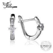 Jewelrypalace flor cubic zirconia aniversario channel set pendientes 925 joyas de plata para las mujeres de moda