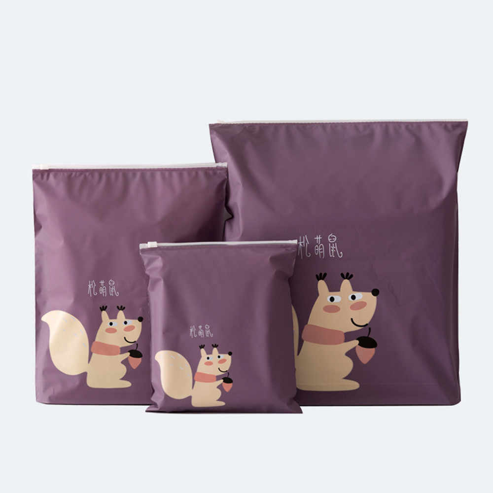 Fashion Squirrel Pattern Storage Bags Purple Traveling Bags Creative Water Resistant Belt Cloth Shoes Underwear Organizer