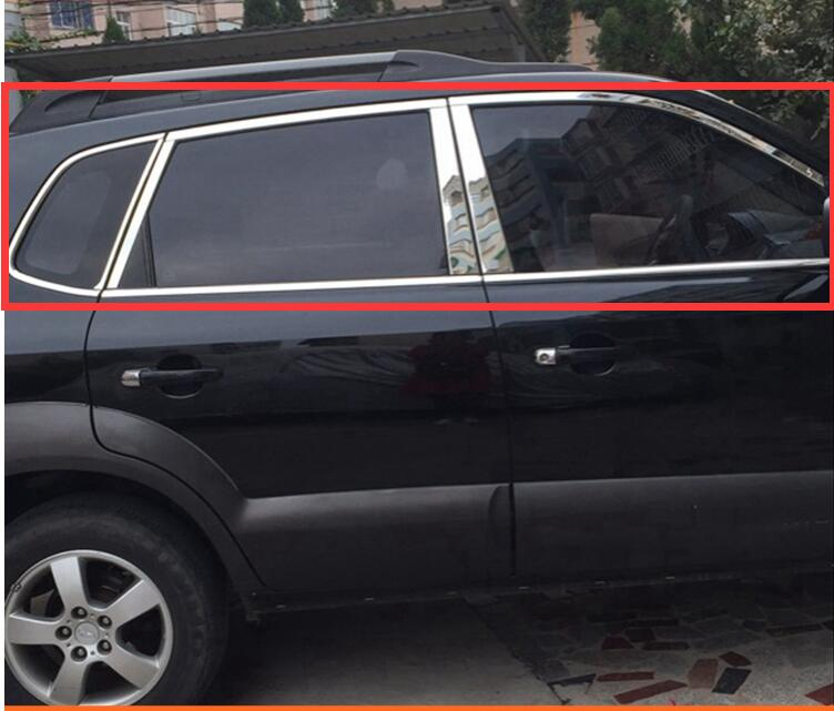 High quality case For Hyundai Tucson 2004 2009 Stainless Steel Full Window Frame Sill Trim With Center Pillars accessories
