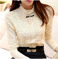 2015 Winter Women Shirt Lace Add Wool Thicken Warm high Collar Bow Camisa Feminina  Lace blusas Blouse tops S-2XL