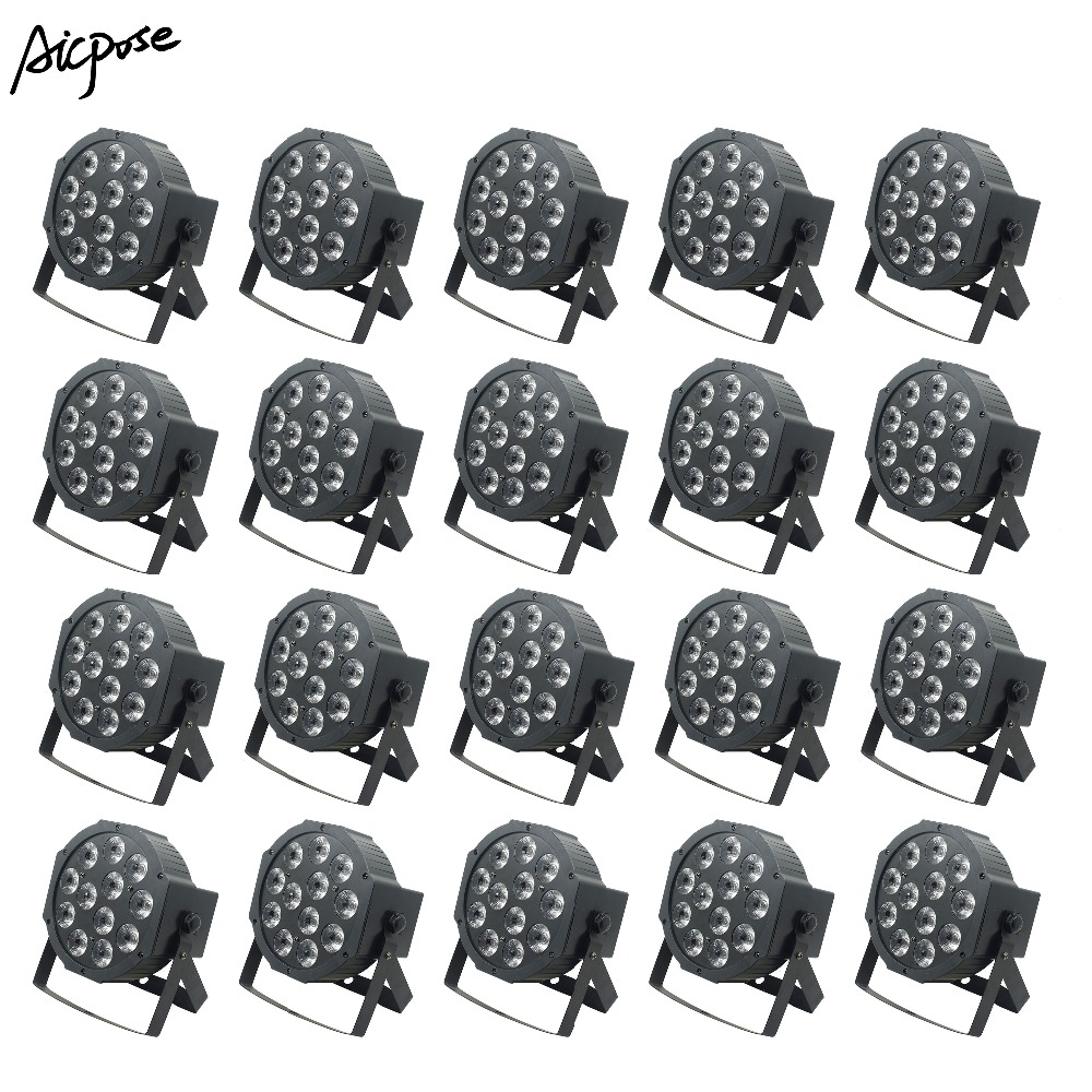 20Pcs/lots 12x12W RGBWA UV 6 in1 Led Par Lights Wall Washer Lighting Wedding Party Bar Stage Light 12*12w Flat Par Led Light