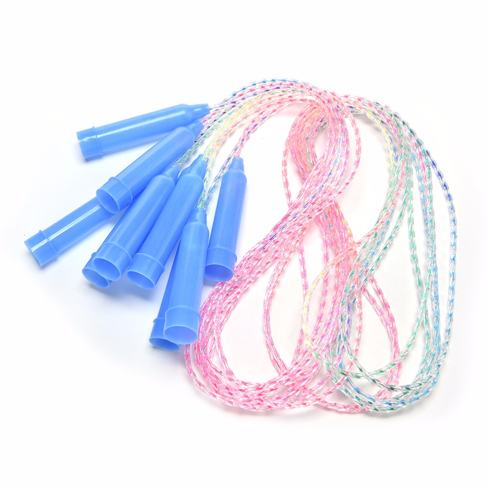 1 PC Portable 2M Plastic Rainbow Rope Fitness Speed Jump Rope Children Exercise Gym Color Random