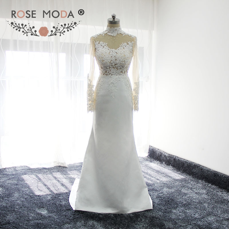 Rose moda high neck long sleeves boho wedding dress for High neck backless wedding dress
