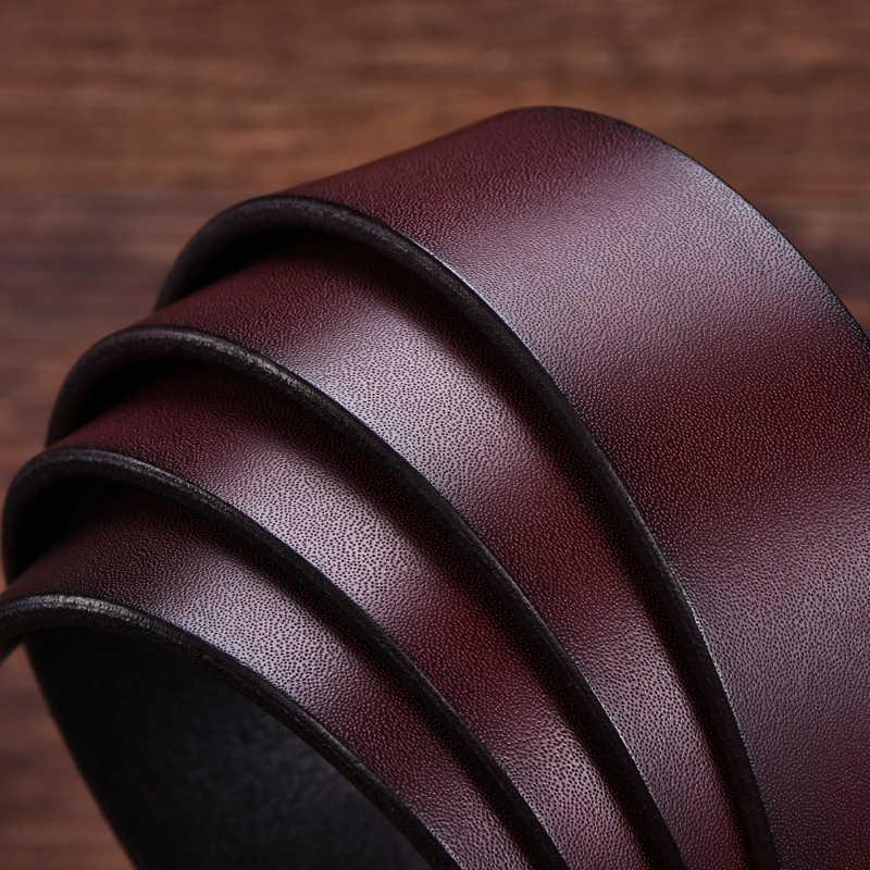 Dinisiton Vintage Jean Pin Gesper Sabuk Bisnis Kasual Sabuk Kulit Asli untuk Pria Klasik Celana Cintos untuk Gendut Preto