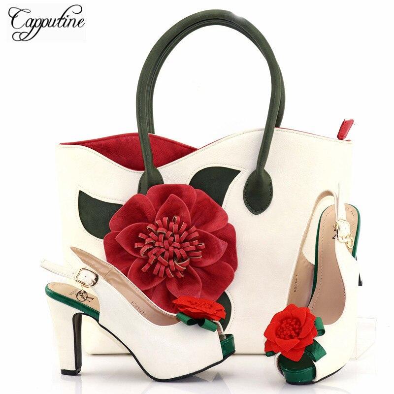 Capputine Alta Zapatos Y Bolso Bolsa Tx Diseño 82 La Tacones Rojo Caliente Flores De Moda Compras Venta Fiesta q4w4xYrvR