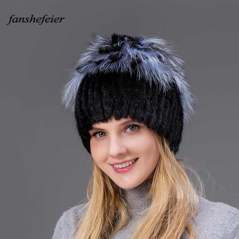 Fanshefeier Moda Pelliccia di Volpe capelli Del Coniglio Cappelli di Pelliccia per le Donne di Lusso Reale del Visone Caps Caldo In Inverno Femminile berretti