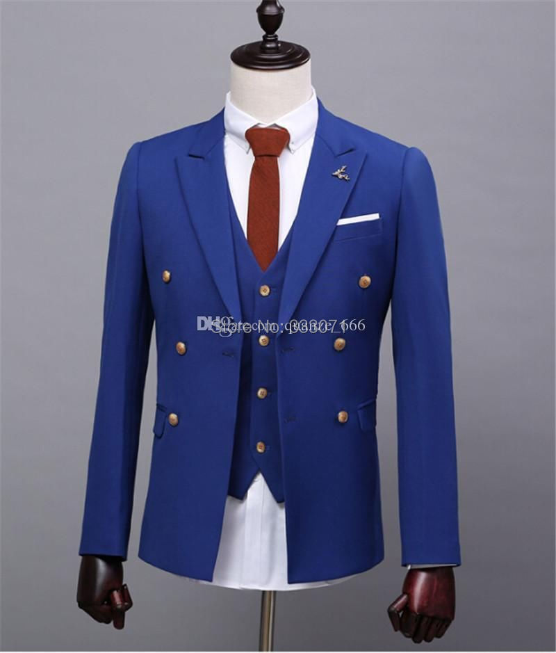 Royal Blue Groom Tuxedos Custom Slim Fit Wedding Suits For Men Blazers Tailor Made Good Quality Best Man Party In From S Clothing