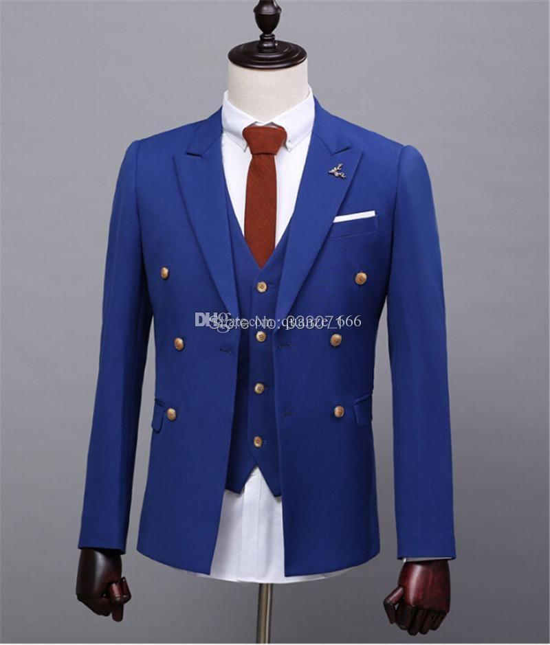 Royal Blue groom tuxedos custom slim fit Wedding Suits for men ...