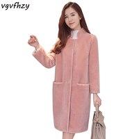 Зимняя куртка Для женщин Искусственный мех пальто Для женщин ягненка Мех животных S Куртки мода стоять воротник Пальто для будущих мам розо
