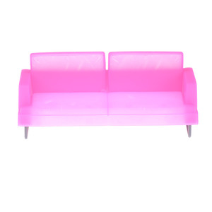 Doll House Sofa Miniature For Barbie Deluxe Pink Plastic Sofa Chair For Barbie Doll Accessories Doll House Decoration