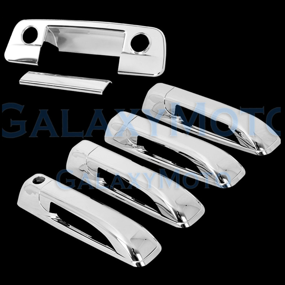 XYIVYG 2009-15 for Dodge Ram Chrome 4 Door Handle+Tailgate with Keyhole+Camera Hole Cover 1500 2500 3500 nitro triple chrome plated abs mirror 4 door handle cover combo