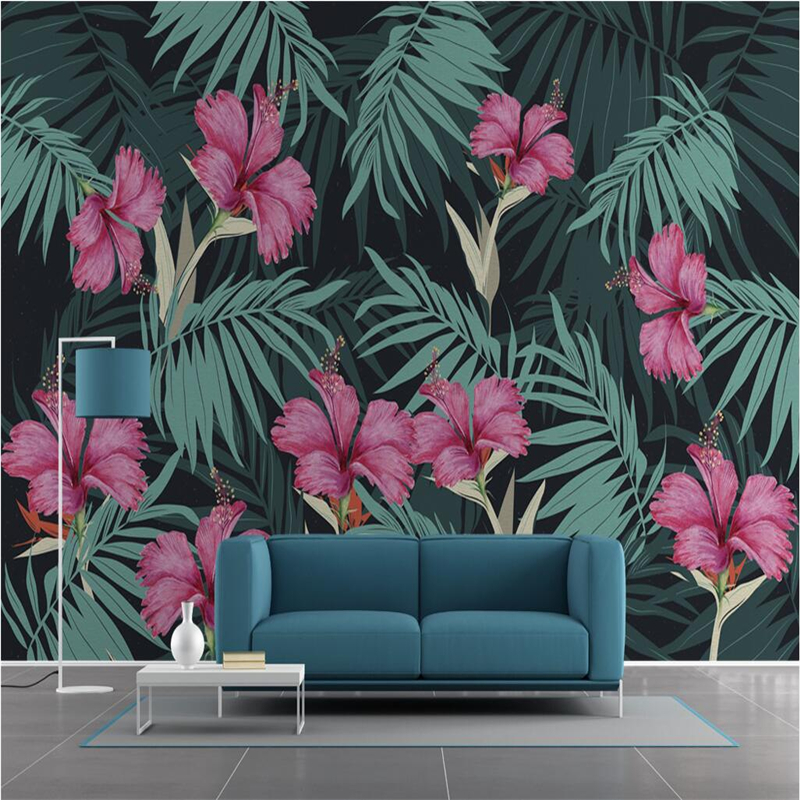 Nordic Palm Leaf 3D Wallpapers For Walls 3D Wall Murals Photo Wallpaper For Living Room Wall Papers Home Decor Pink Floral Mural