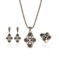 Новинка 2017 года Шарм Турции Стиль Jewelry костюм-тройка из высококачественной легированной Цепочки и ожерелья Серьги комплект Кольца # JZ004520