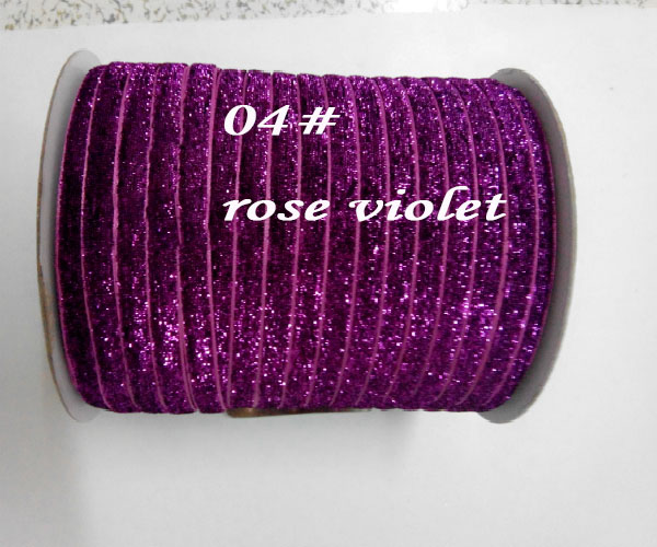 Rose Violet Glitter Metallic Velvet Ribbon Rope DIY Hair Accessories Wedding Party Sewing Webbing Gift Packing Cord Decoration
