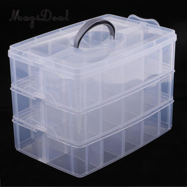 3 Layers Stackable Adjustable 30 Compartment Jewelry Dividers Box