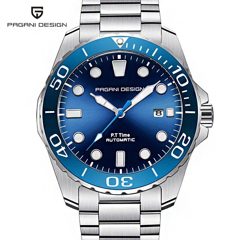 PAGANI projekt niebieski Dial automatyczne mężczyźni zegarki 1632 moda na co dzień mewa zegarek mechaniczny mężczyźni wodoodporne męskie zegarki w Zegarki mechaniczne od Zegarki na  Grupa 1