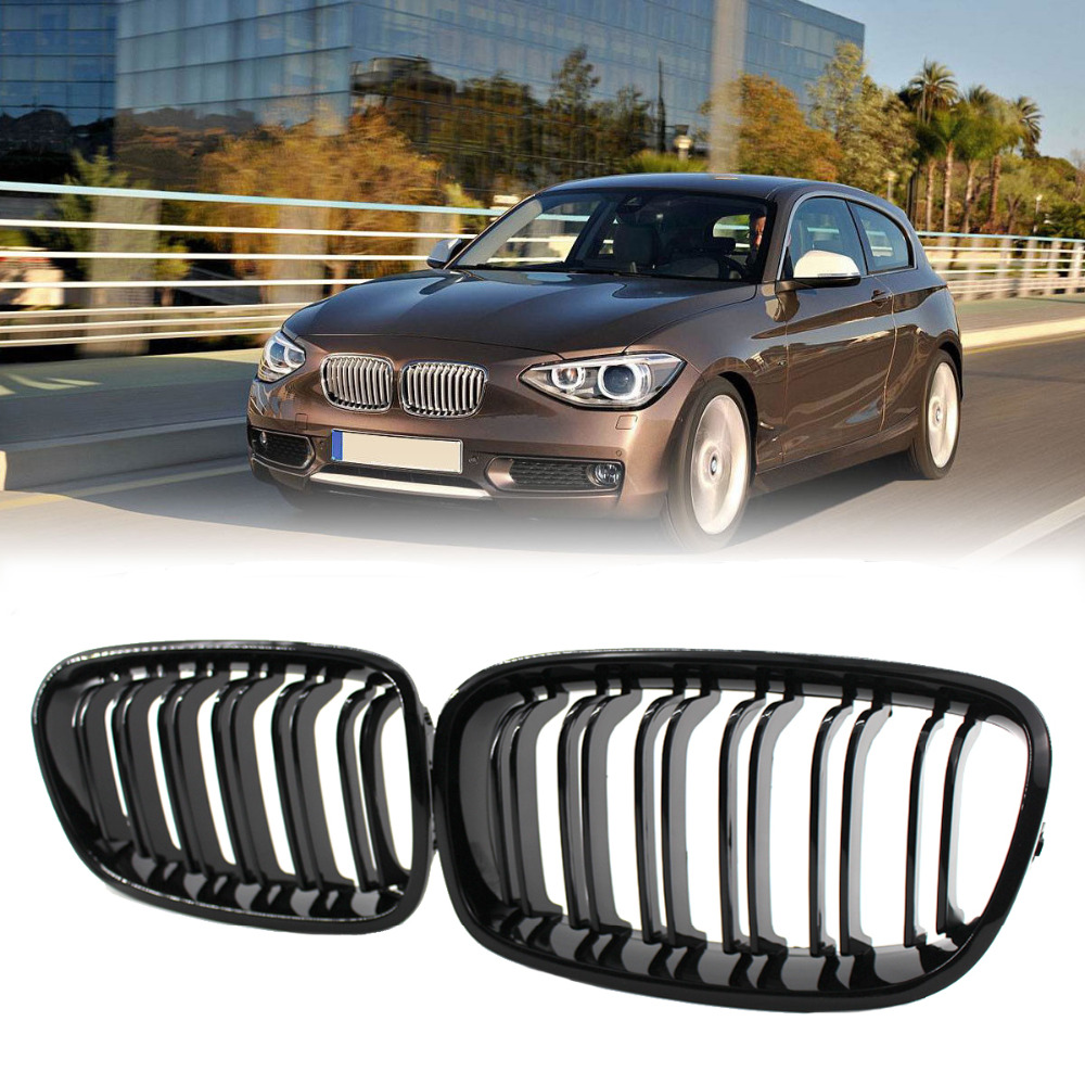 Gloss Black Front Dual Line Grille Grill For BMW F20 F21 1 Series 118i 2010 2011 2012 2013 2014 f20 abs grill front bumper hood grille for bmw f21 2010 2014 page 8
