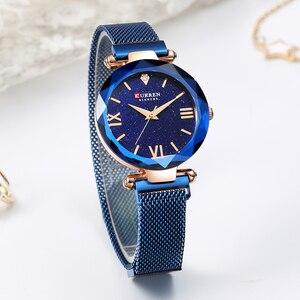 Image 3 - カレン高級女性はロマンチックな星空ダイヤルホットファッションステンレス鋼メッシュ腕時計レディースブレスレット腕時計ギフト