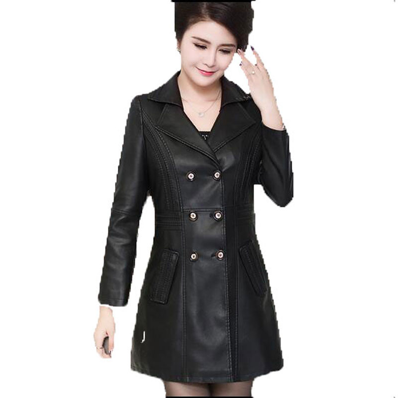 high quality   leather   jacket women large size 6 XL 2016 long plus size   leather   clothing female outerwear ladies jackets and coats