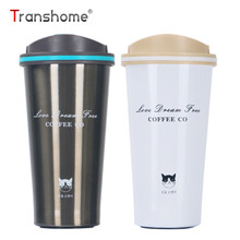 Transhome Thermos Coffee Mug 500ml Grumpy Cat New Stainless Steel Vacuum Flask Vacuum Cup Coffee Mugs Business Gift Cups Thermos