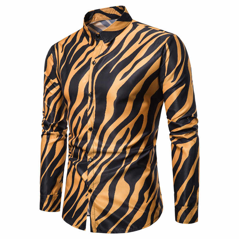 2019 nouvelle boîte de nuit partie zèbre rayé hommes chemises décontracté Slim Fit à manches longues Camisa Social hommes robe chemises Chemise Homme 3XL