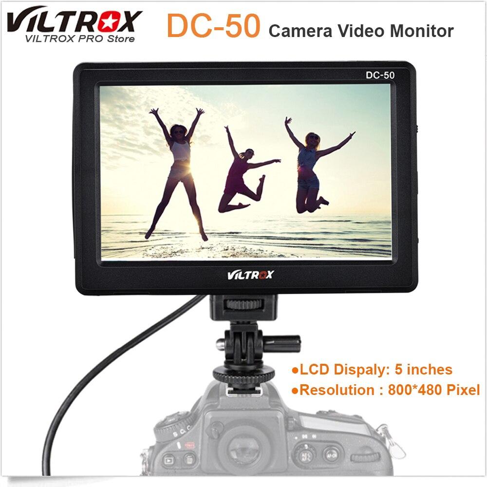 Viltrox DC-50 Portable 5 ''Clip-on LCD HDMI caméra moniteur vidéo pour Canon Nikon Sony A7 A9 A7II A7SII A6500 A6300 DSLR BMPCC